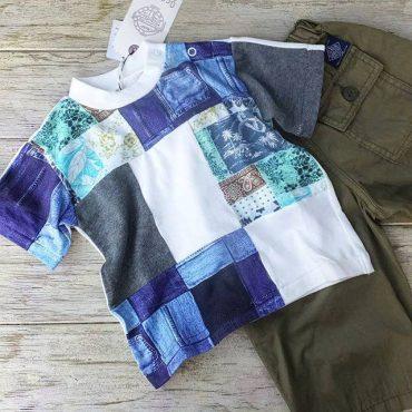 Ocean ground パッチワークのティシャツ。