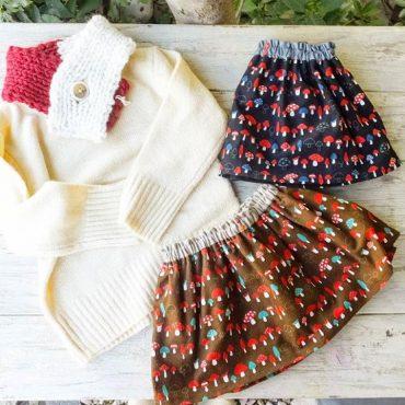 キノコのスカート冬にセーターとレギンスと合わせて可愛いです。